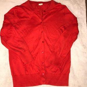 J. Crew Red Cotton Cardigan